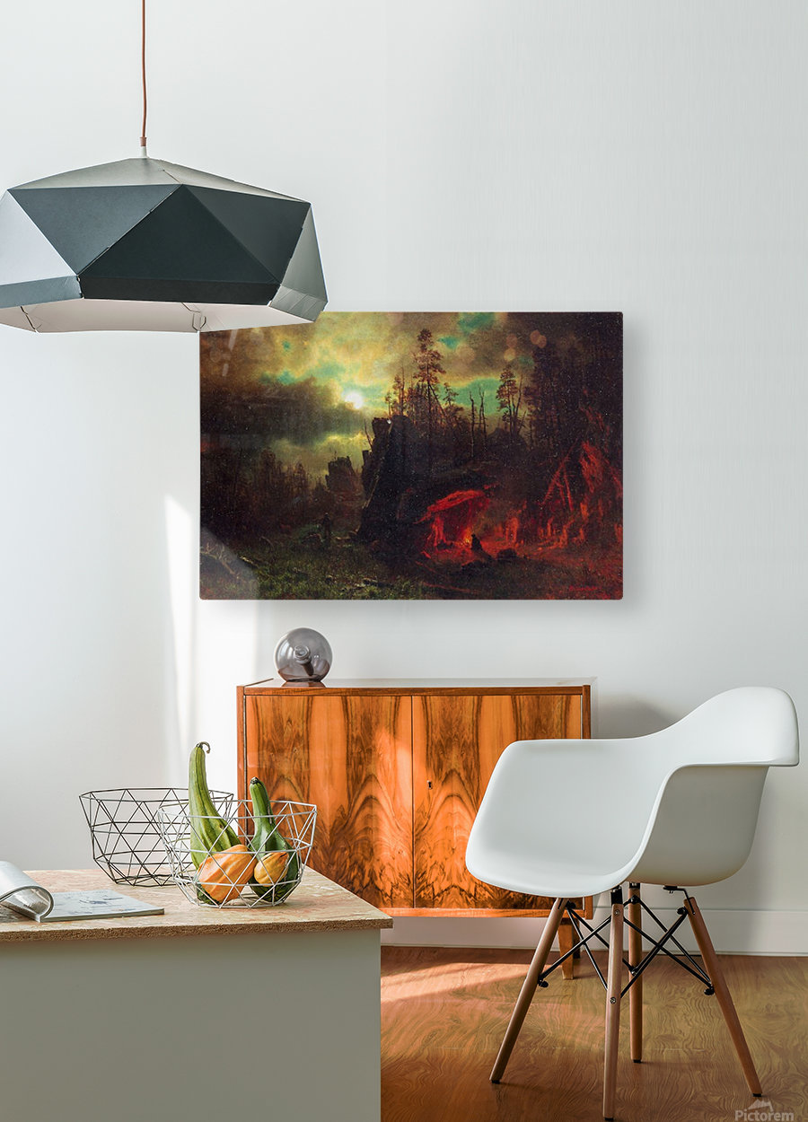 Trapper s camp by Bierstadt  HD Metal print with Floating Frame on Back