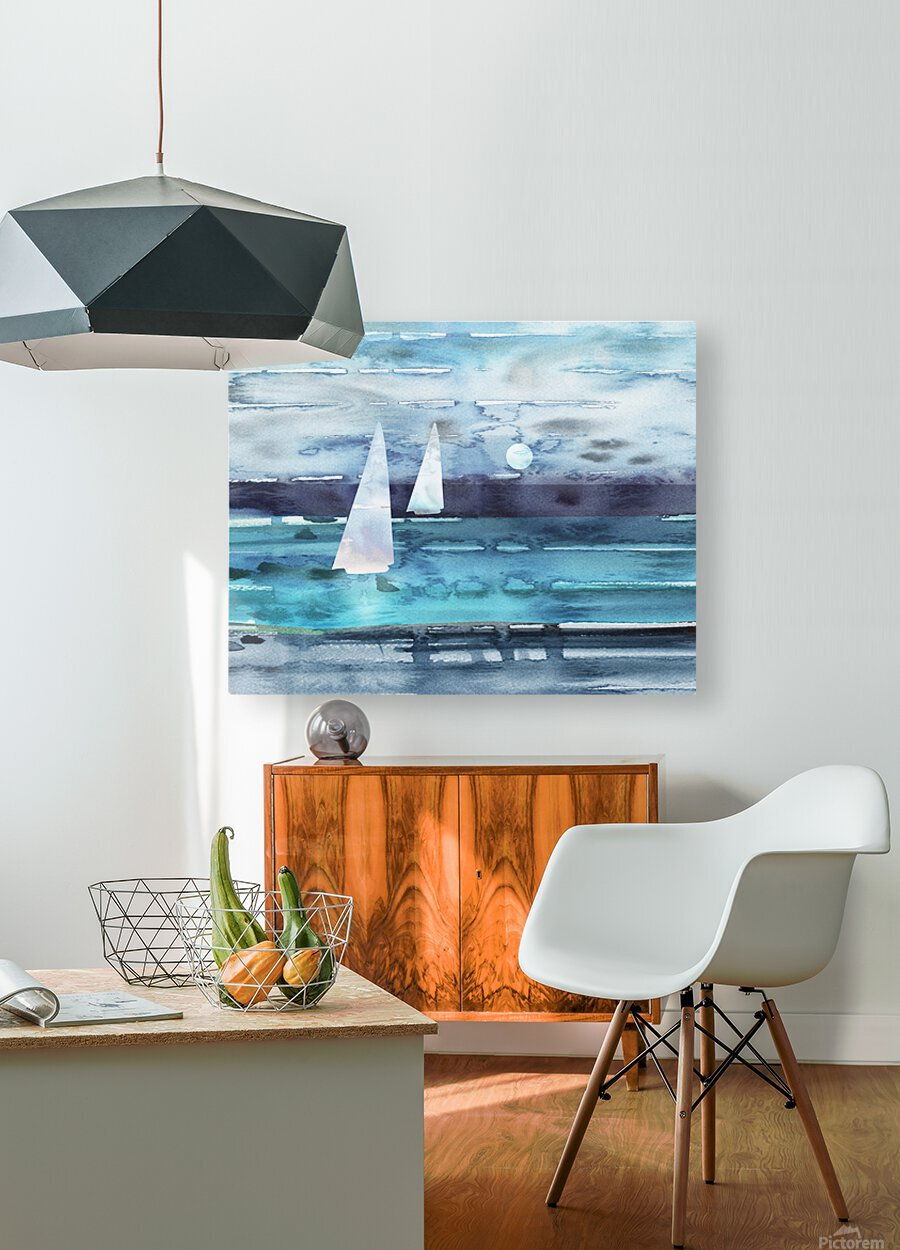 Beach House Art Sailboats At The Ocean Shore Seascape Painting XII  HD Metal print with Floating Frame on Back