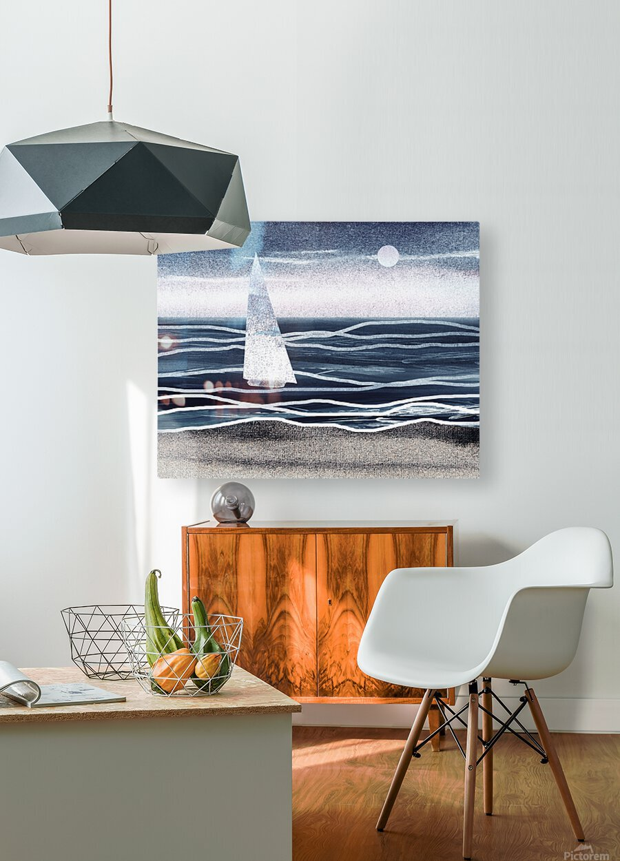 Beach House Art Sailboat At The Ocean Shore Seascape Painting XIII  HD Metal print with Floating Frame on Back