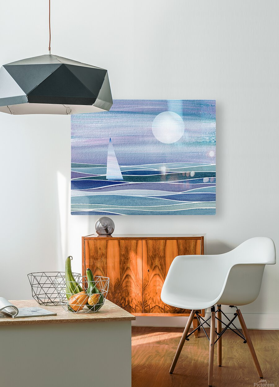 Sailboat At The Ocean Shore Seascape Painting Beach House Art Decor XV  HD Metal print with Floating Frame on Back