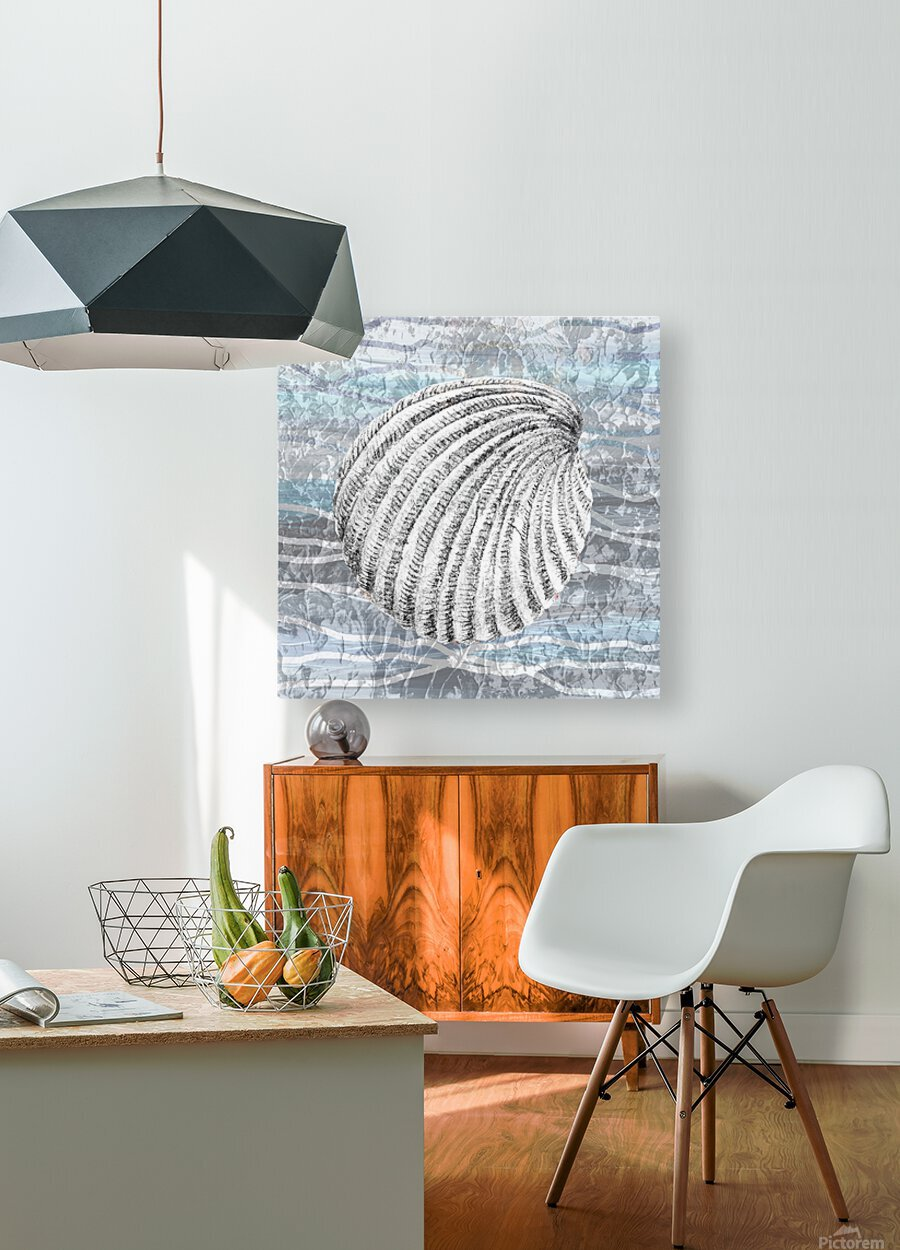 Silver Gray Seashell On Ocean Shore Waves And Rocks II  HD Metal print with Floating Frame on Back