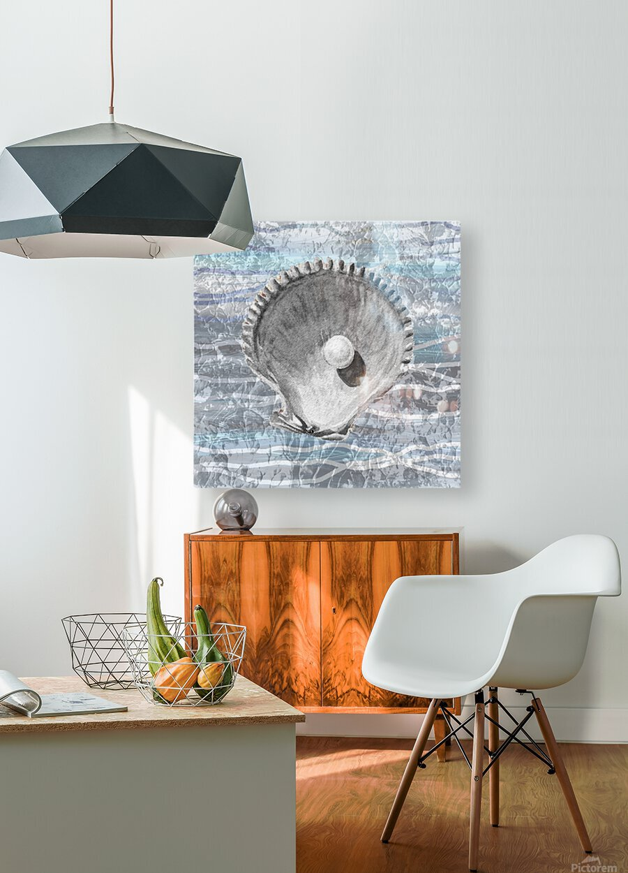 Silver Gray Seashell On Ocean Shore Waves And Rocks IV  HD Metal print with Floating Frame on Back