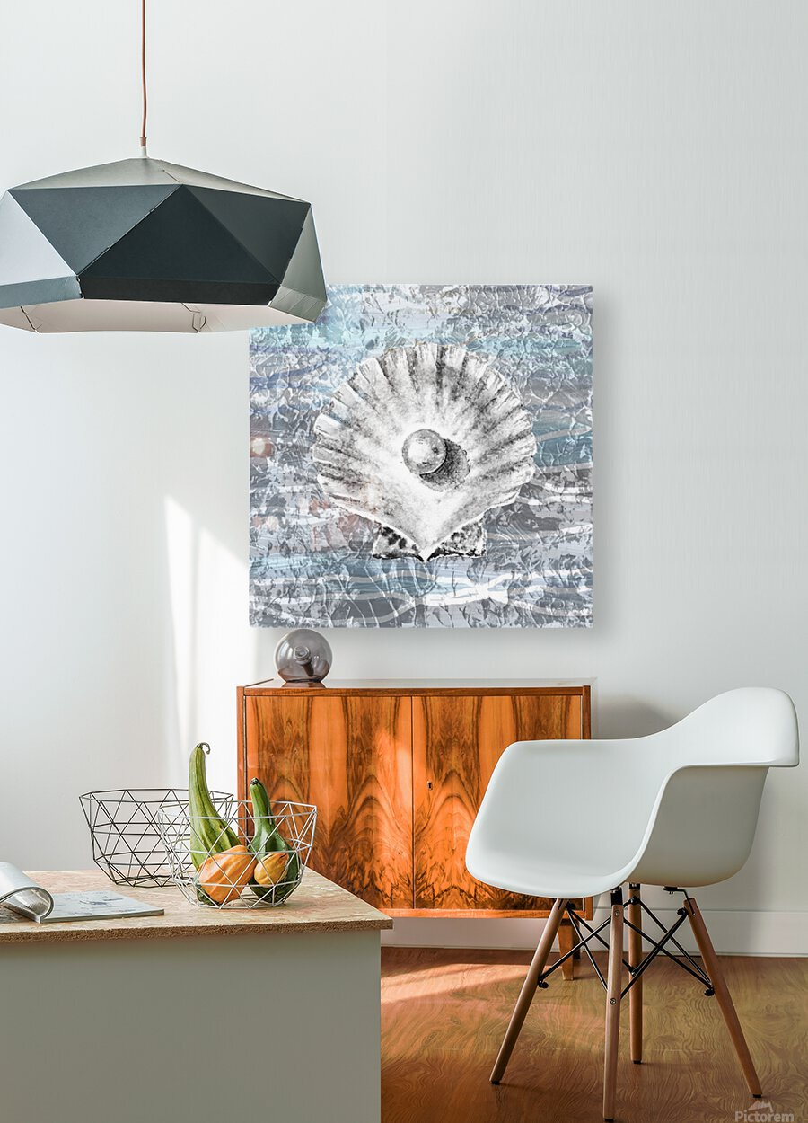 Silver Gray Seashell On Ocean Shore Waves And Rocks V  HD Metal print with Floating Frame on Back