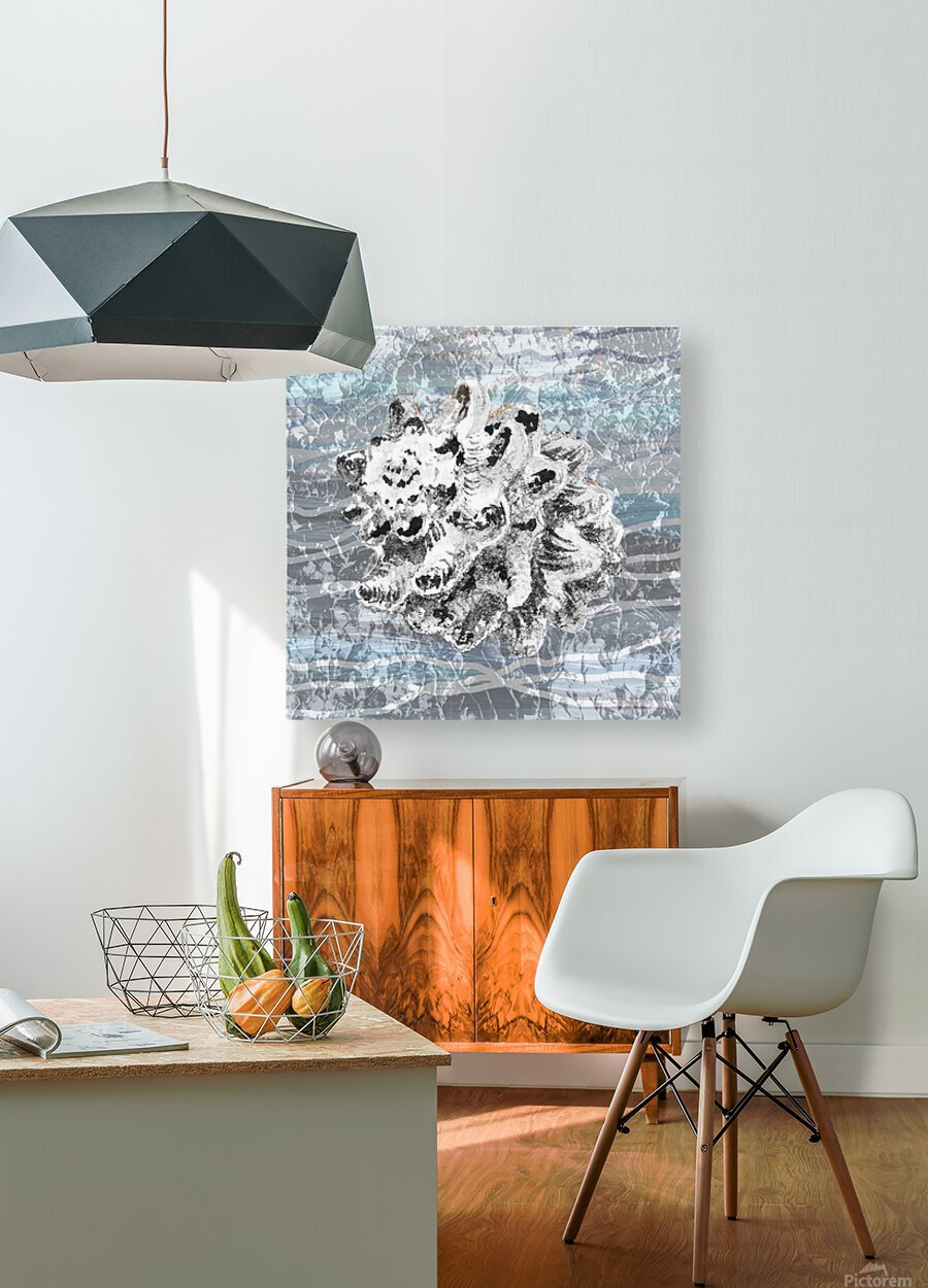 Silver Gray Seashell On Ocean Shore Waves And Rocks VI  HD Metal print with Floating Frame on Back