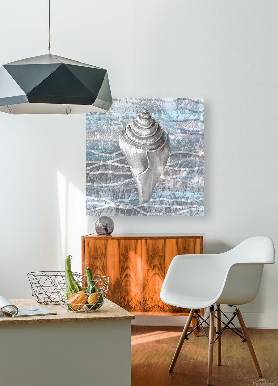 Silver Gray Seashell On Ocean Shore Waves And Rocks VII  HD Metal print with Floating Frame on Back