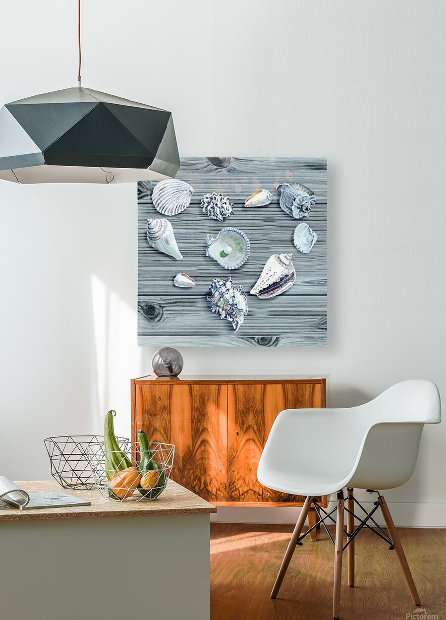 Silver Gray Seashells Heart On Ocean Shore Wooden Deck Beach House Art   HD Metal print with Floating Frame on Back