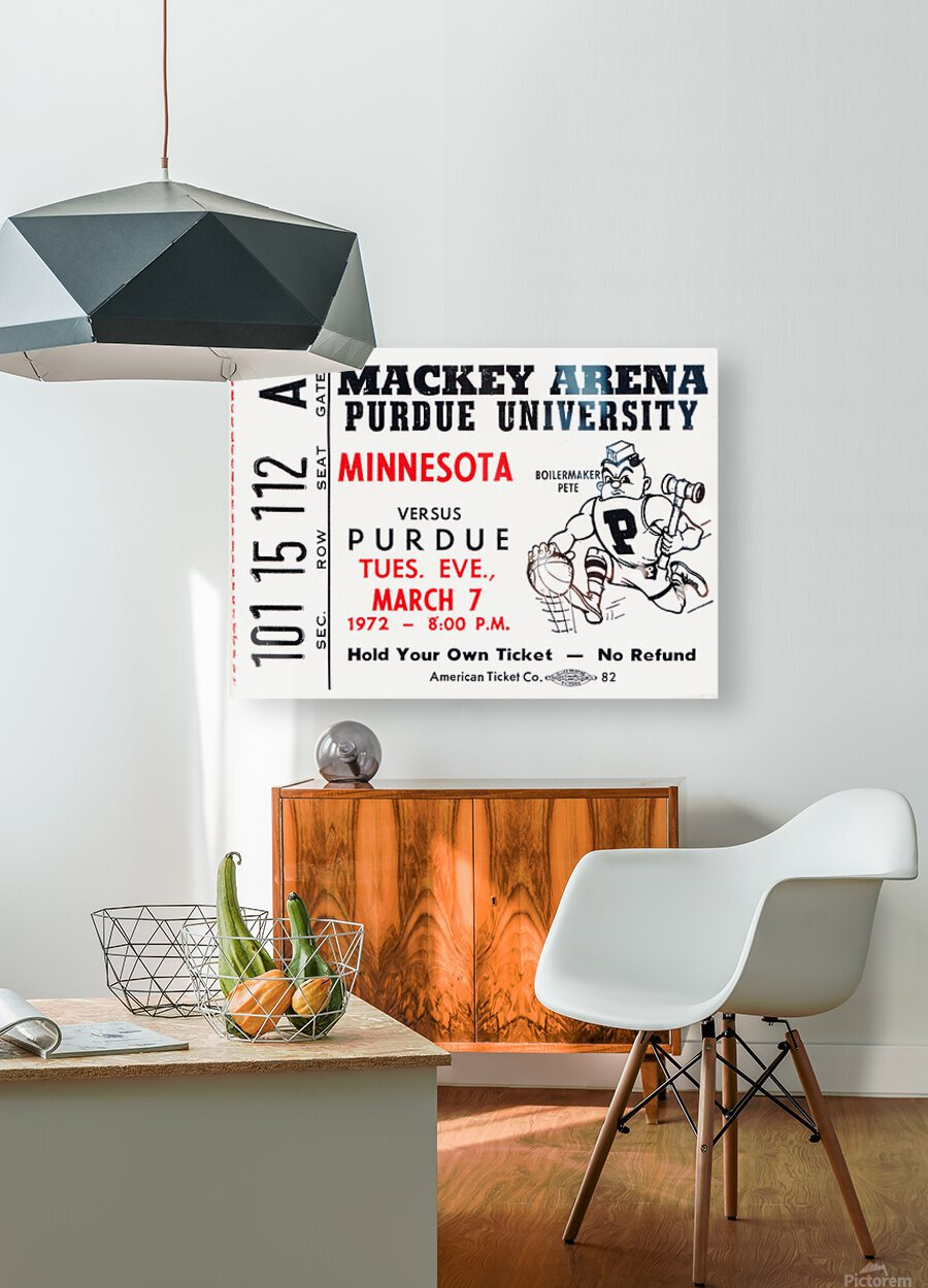 1972 Purdue Basketball Ticket Canvas  HD Metal print with Floating Frame on Back