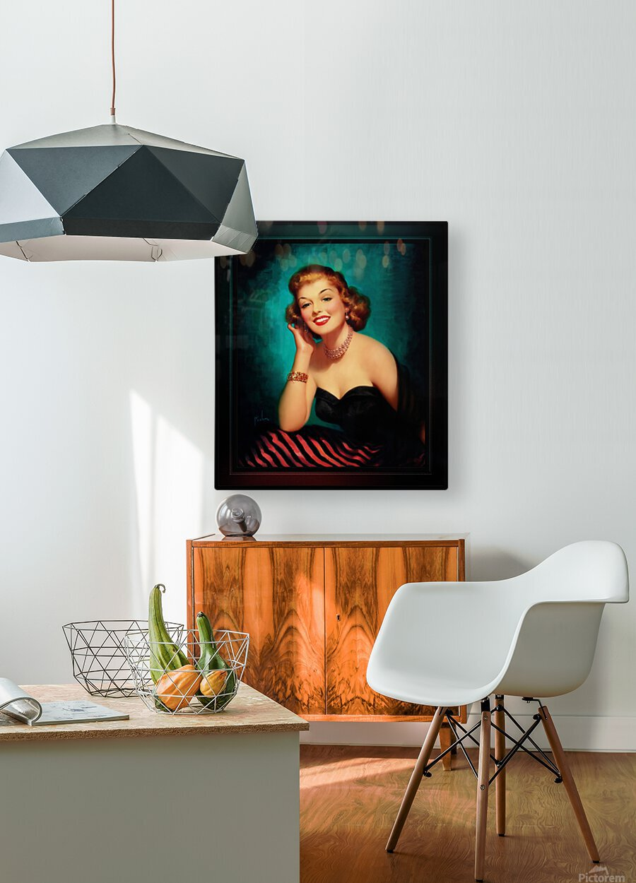 Evening Glamour Girl by Art Frahm Glamour Pin-up Vintage Art  HD Metal print with Floating Frame on Back