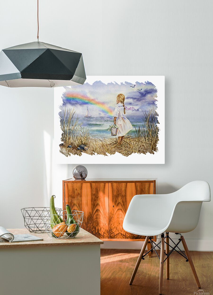 Girl Ocean Rainbow Boat And Birds Beach House Style Art  HD Metal print with Floating Frame on Back