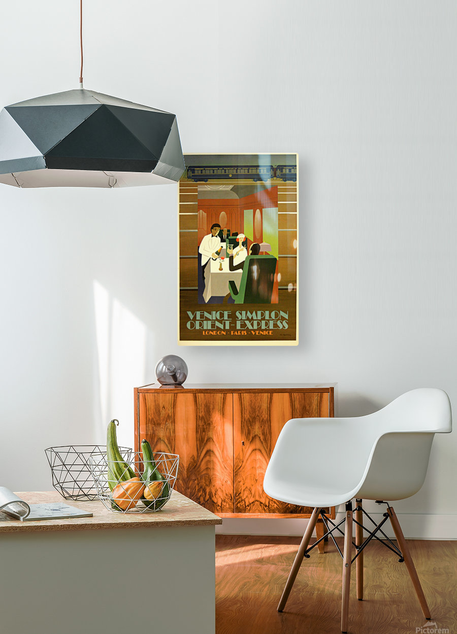 Travel Art Deco Style Poster - Venice Simplon Orient Express Railway  HD Metal print with Floating Frame on Back