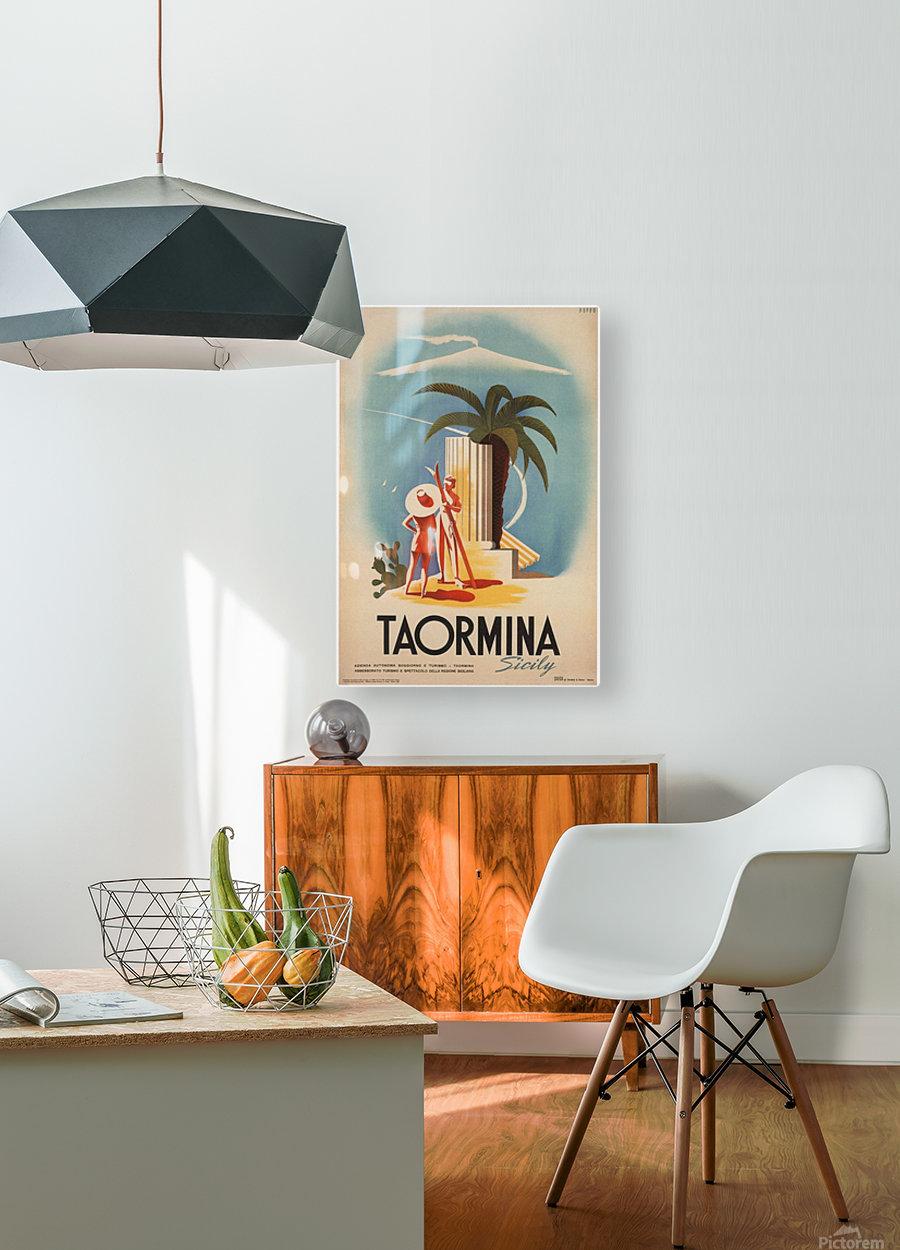 Taormina, Sicily Vintage Italian Travel Print  HD Metal print with Floating Frame on Back