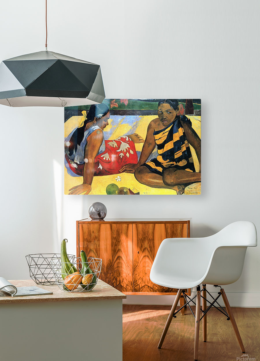 Two Women From Tahiti by Gauguin  HD Metal print with Floating Frame on Back