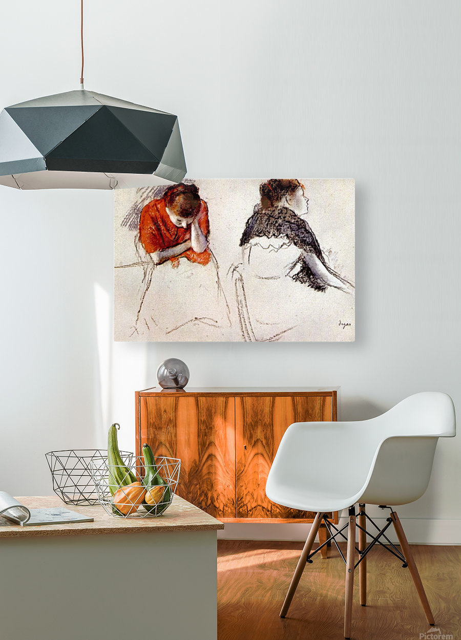 Two women seated by Degas  HD Metal print with Floating Frame on Back