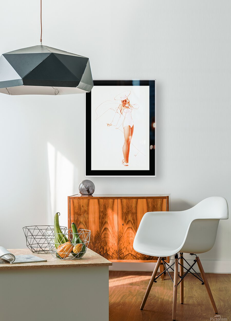 I Know What He Wants for Fathers Day by George Petty Pin-up Girl Vintage Art  HD Metal print with Floating Frame on Back