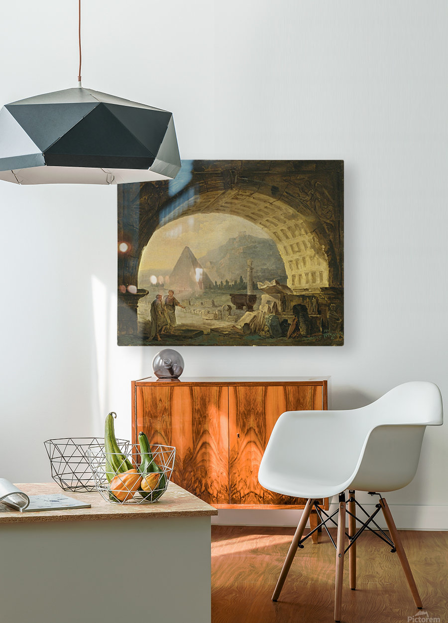 View of antiquities under an arch  HD Metal print with Floating Frame on Back