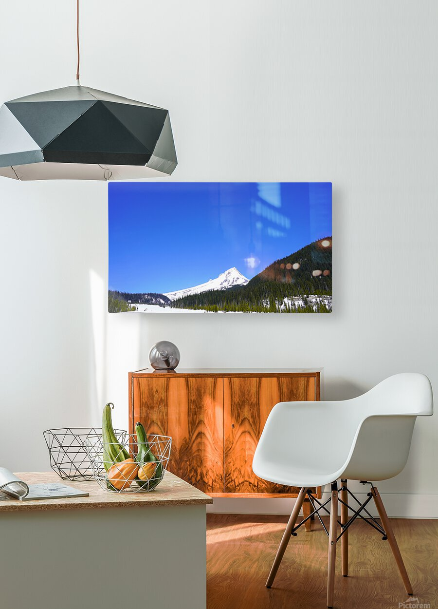 Clear Day in the Mountains - Mount Hood  - Oregon  HD Metal print with Floating Frame on Back