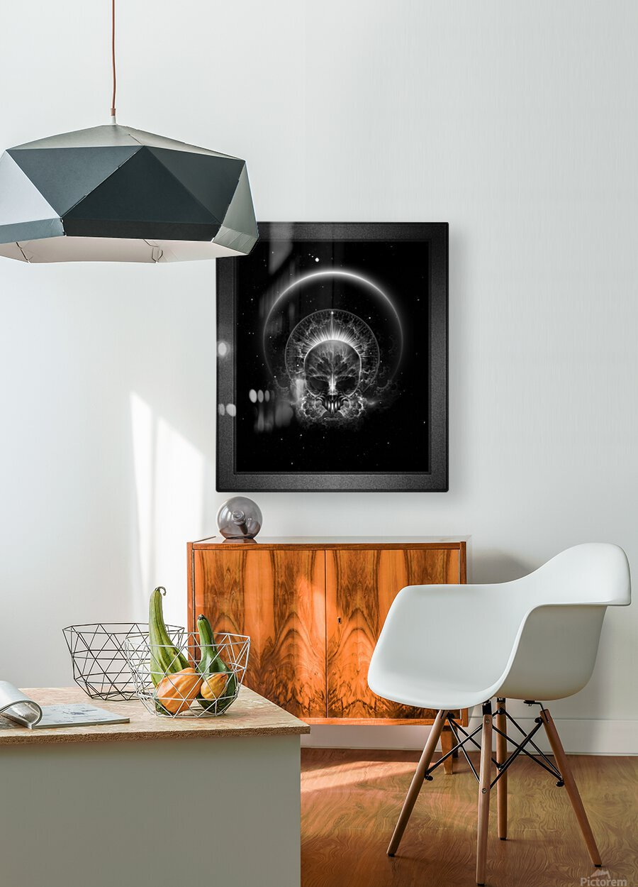Gothic Skull Blaze Abstract Digital Art Composition  HD Metal print with Floating Frame on Back