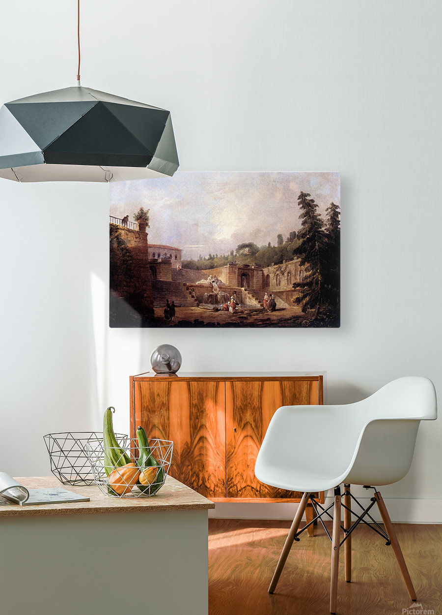 Fountain on a Palace Terrace  HD Metal print with Floating Frame on Back