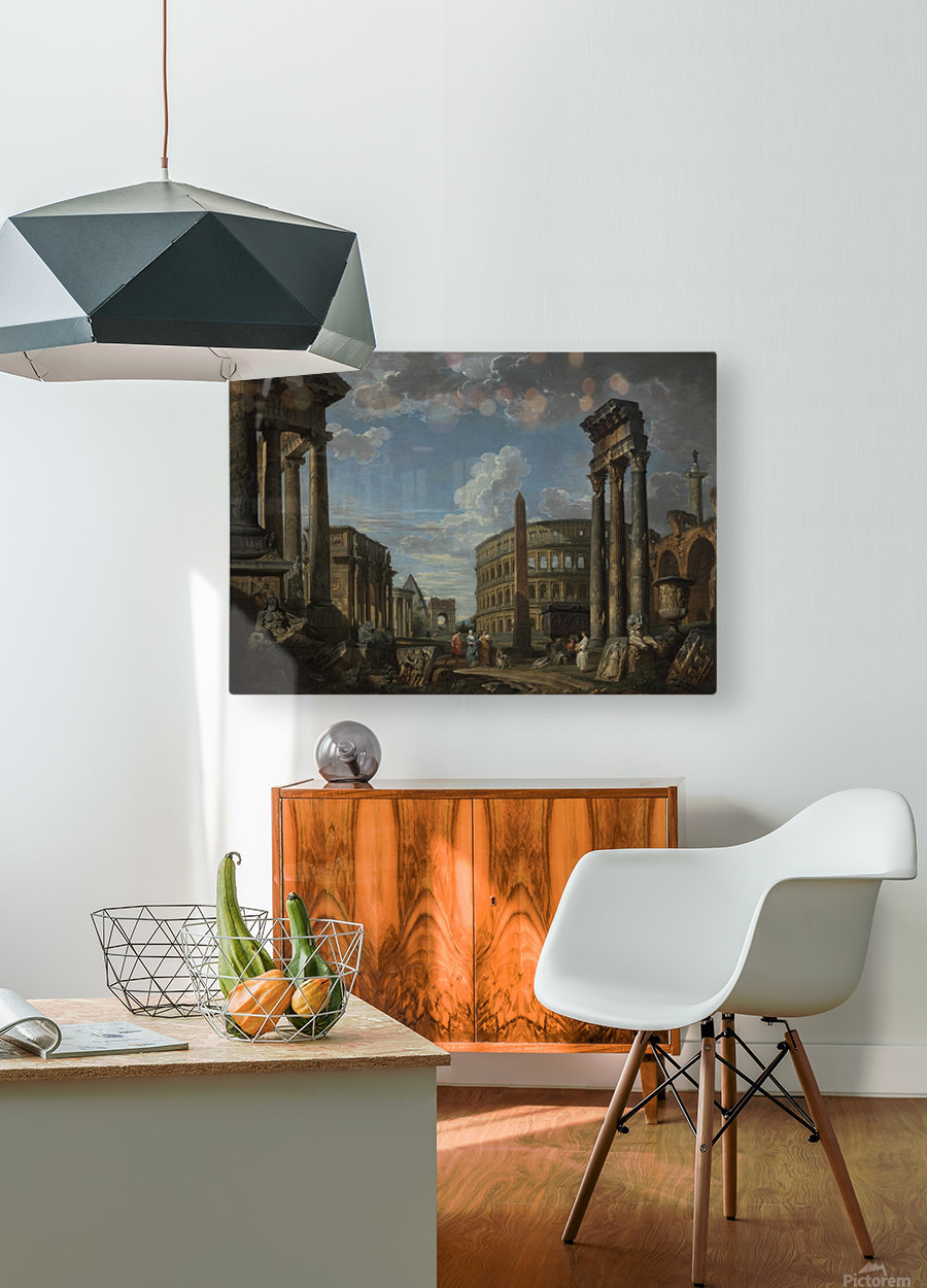 An architectural capriccio with figures among Roman ruins  HD Metal print with Floating Frame on Back