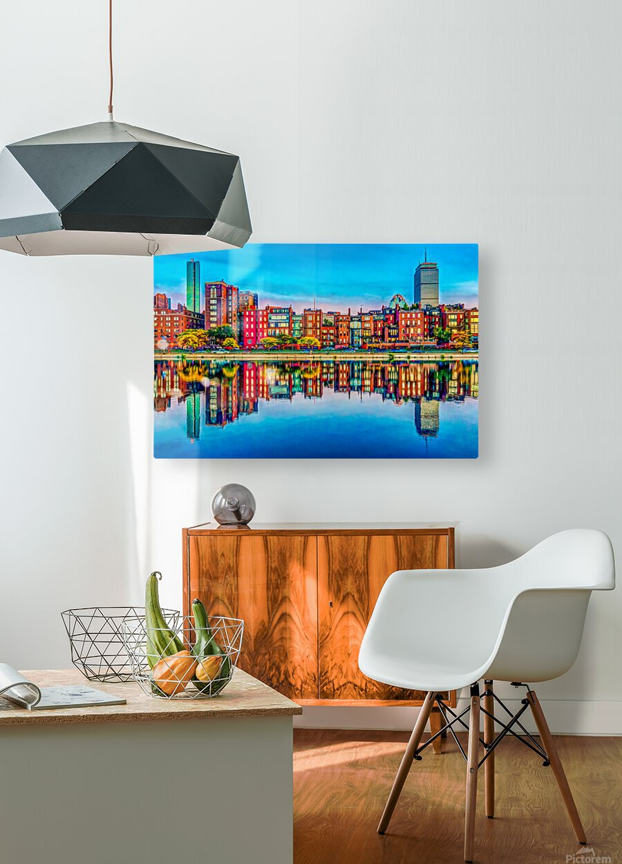 Boston Back Bay reflection  HD Metal print with Floating Frame on Back