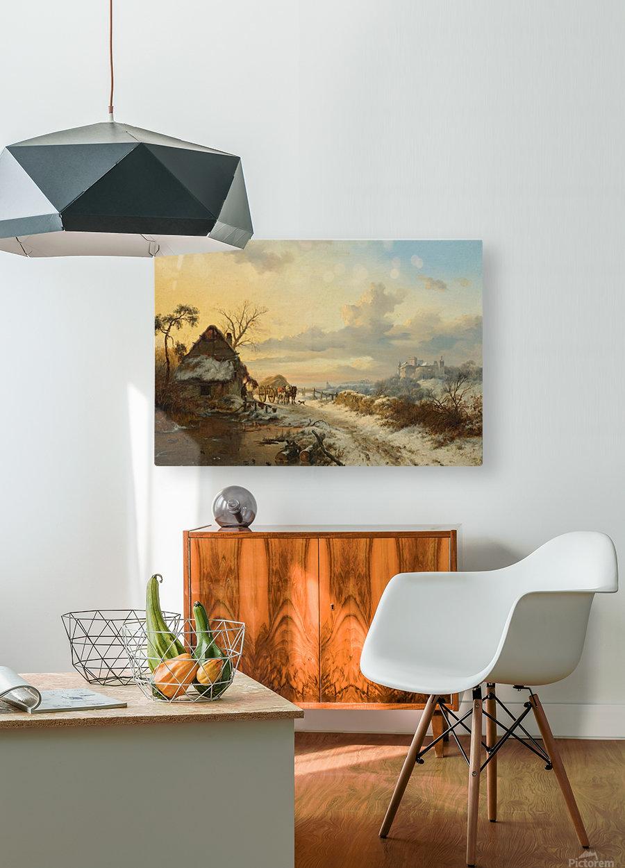 Winterlandschap met paarden en karren  HD Metal print with Floating Frame on Back