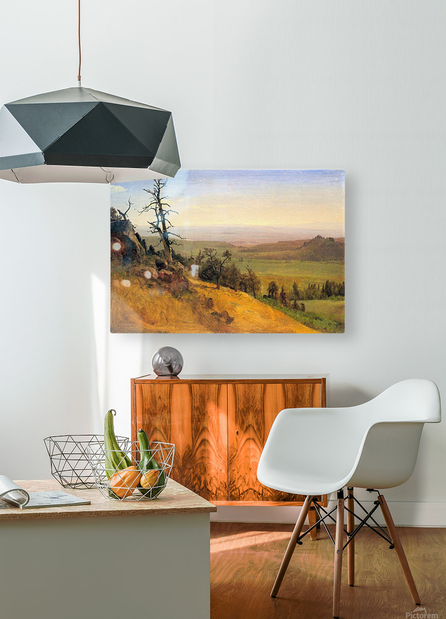 Wasatch Mountains Nebraska by Bierstadt  HD Metal print with Floating Frame on Back