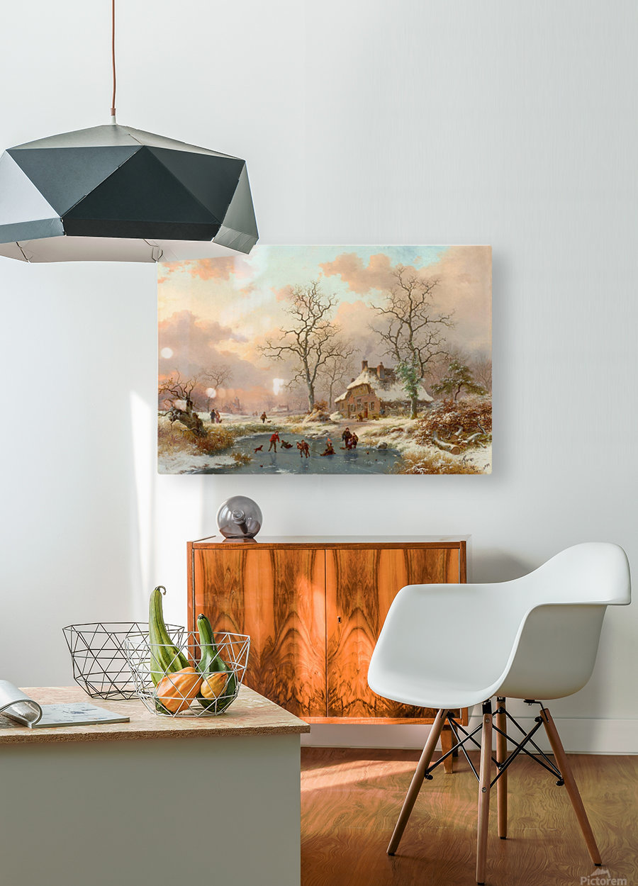 Winter landscape with figures on the frozen lake  HD Metal print with Floating Frame on Back