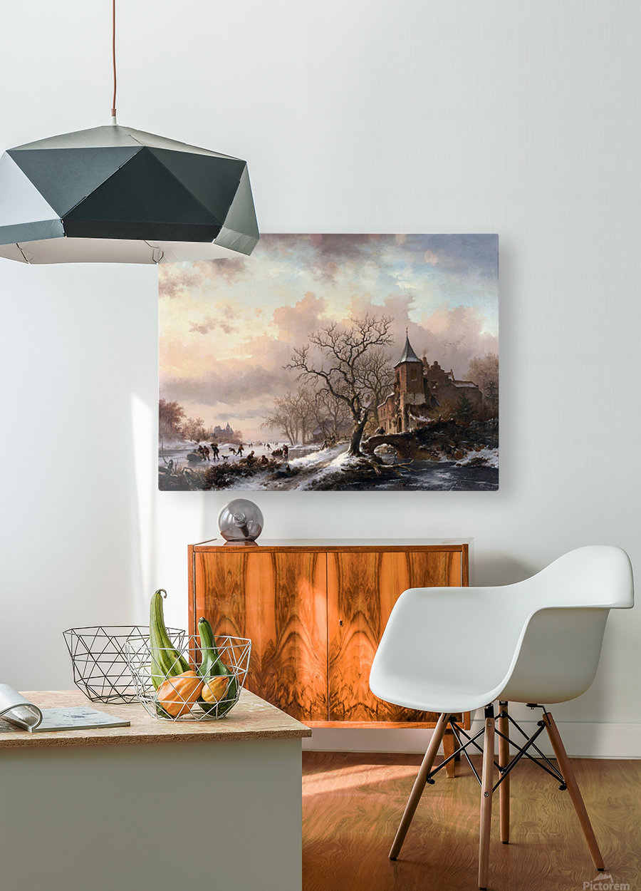 Castle in a Winter Landscape and Skaters on a Fozen River  HD Metal print with Floating Frame on Back