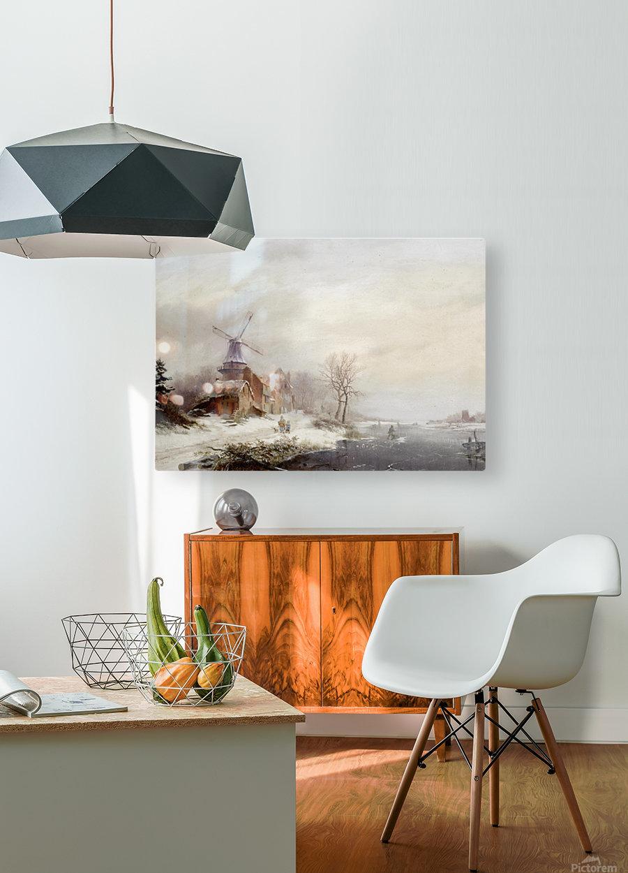 Winter landschap met gehucht, windmolen en figuren  HD Metal print with Floating Frame on Back