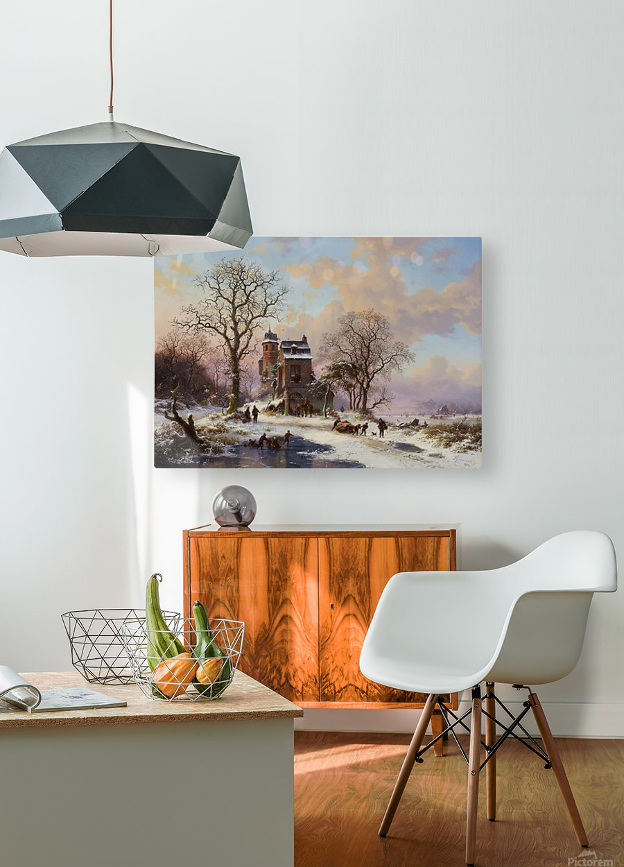 A Dutch Winter Landscape  HD Metal print with Floating Frame on Back