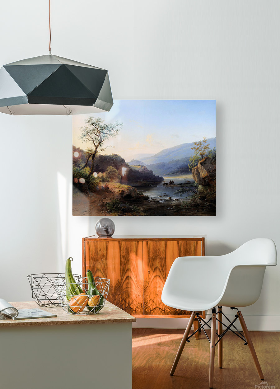 Landscape with lake and figures  HD Metal print with Floating Frame on Back