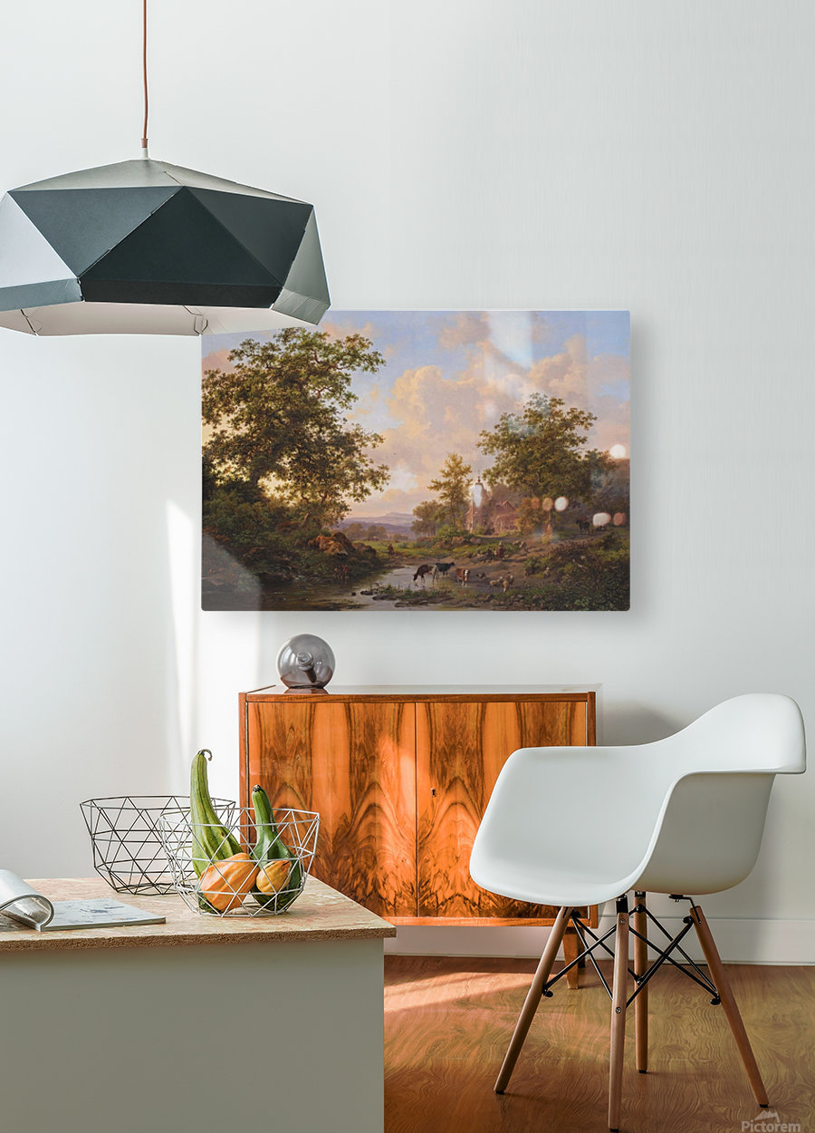 A sunlit river landscape with shepherds resting near a stream  HD Metal print with Floating Frame on Back