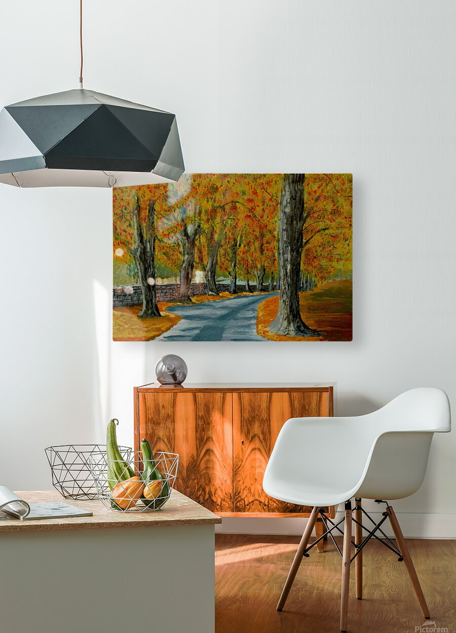Autumns Pathway  HD Metal print with Floating Frame on Back