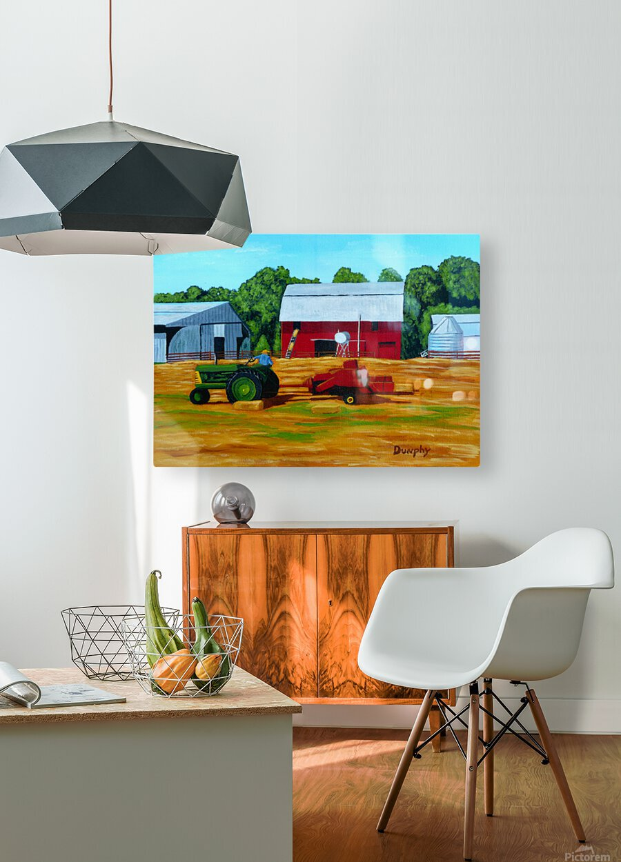 Bailing Hay  HD Metal print with Floating Frame on Back
