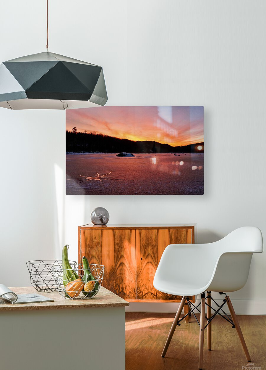 Scenic Fiery North Shore Sunset  HD Metal print with Floating Frame on Back