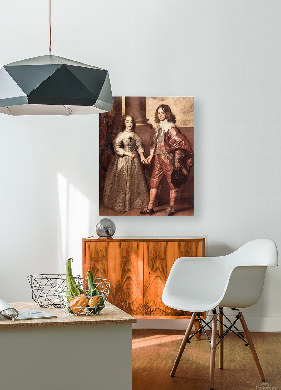 William of Orange with his future bride by Van Dyck  HD Metal print with Floating Frame on Back