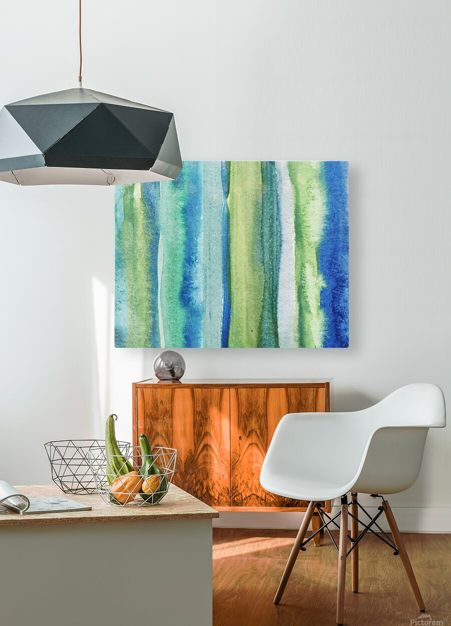 Ocean And Sea Beach Coastal Art Organic Watercolor Abstract Lines I  HD Metal print with Floating Frame on Back