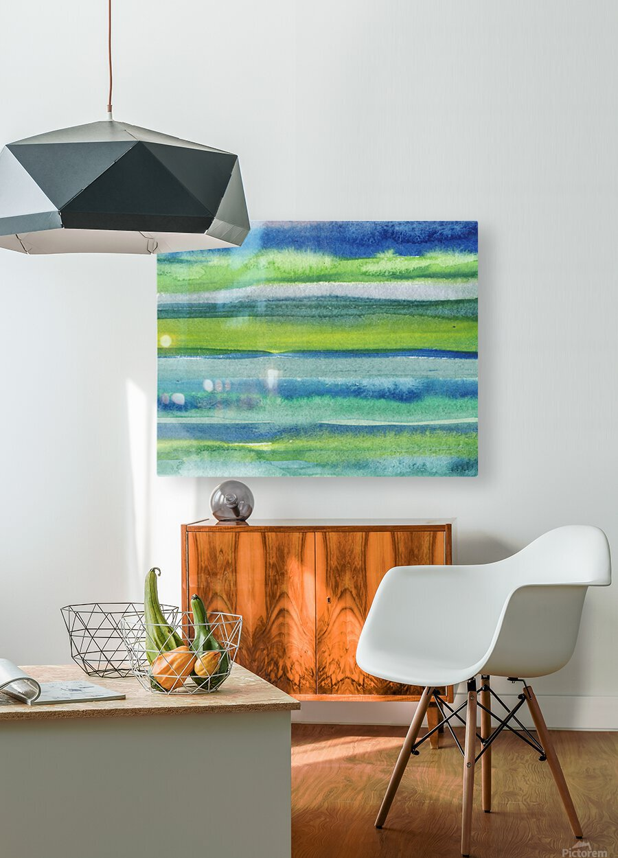 Ocean And Sea Beach Coastal Art Organic Watercolor Abstract Lines II  HD Metal print with Floating Frame on Back