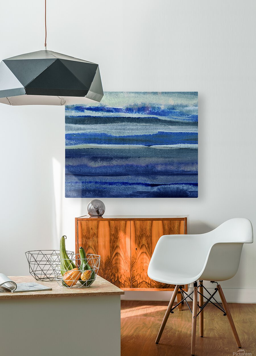Ocean And Sea Beach Coastal Art Organic Watercolor Abstract Lines III  HD Metal print with Floating Frame on Back