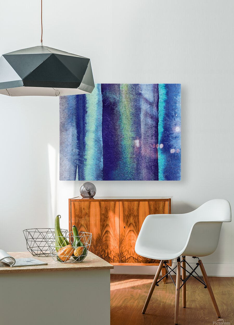 Ocean And Sea Beach Coastal Art Organic Watercolor Abstract Lines V  HD Metal print with Floating Frame on Back