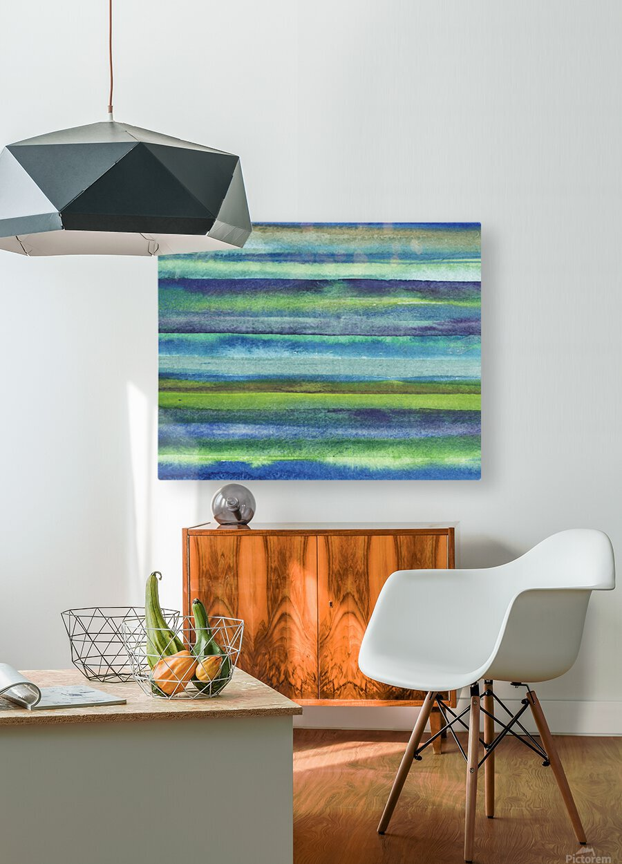 Ocean And Sea Beach Coastal Art Organic Watercolor Abstract Lines VI  HD Metal print with Floating Frame on Back
