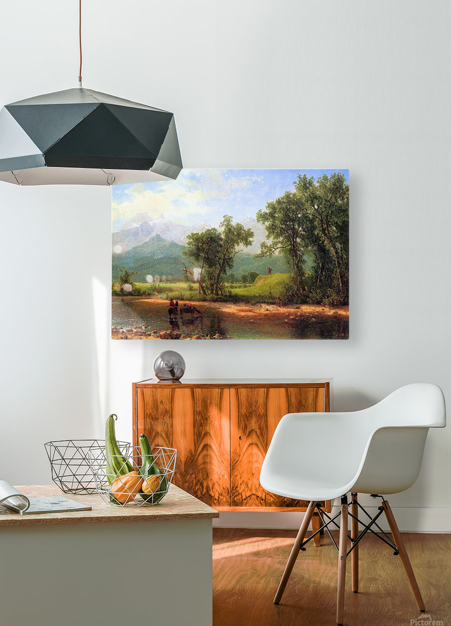 Wind River Mountains, landscape in Wyoming by Bierstadt  HD Metal print with Floating Frame on Back