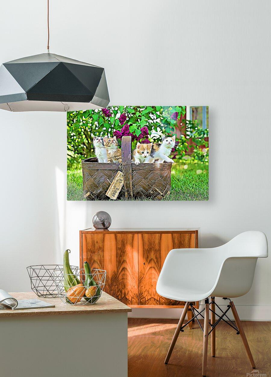 Basket of Kittens  HD Metal print with Floating Frame on Back
