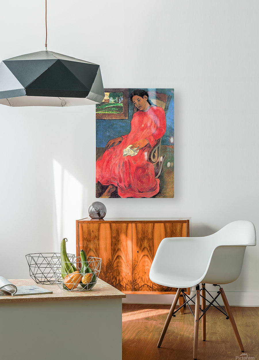 Woman in Red Dress by Gauguin  HD Metal print with Floating Frame on Back