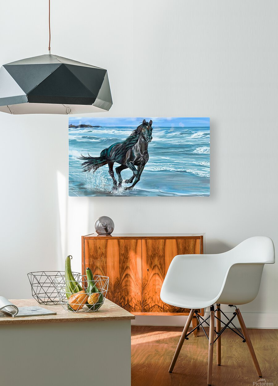 Black Beauty   HD Metal print with Floating Frame on Back