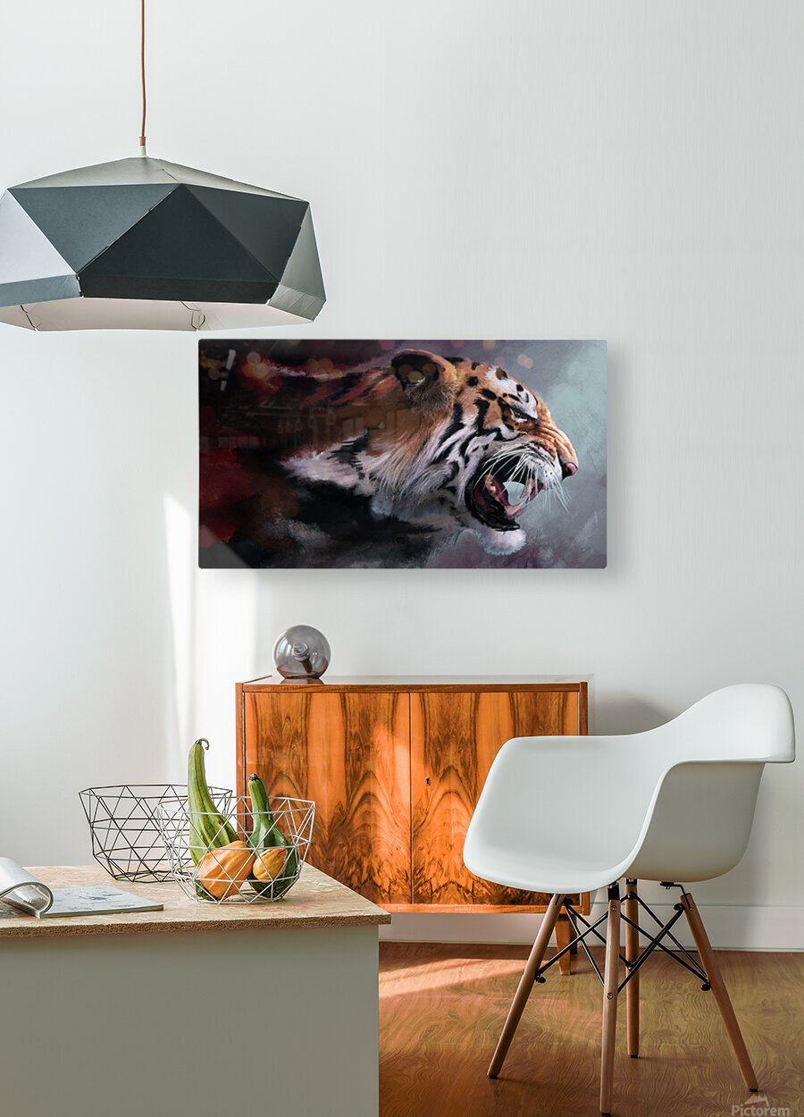 Lunging Tiger  HD Metal print with Floating Frame on Back