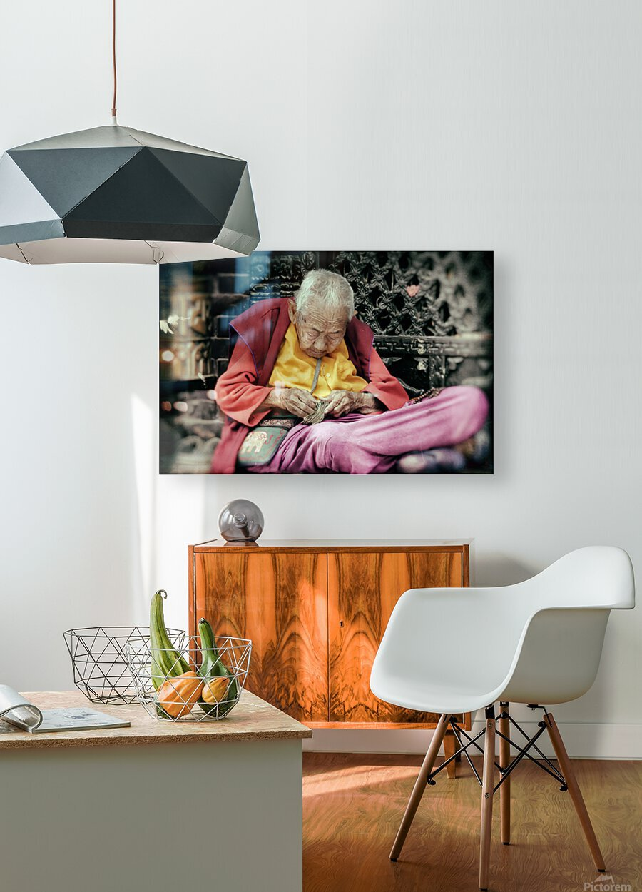 Temple gardener  HD Metal print with Floating Frame on Back