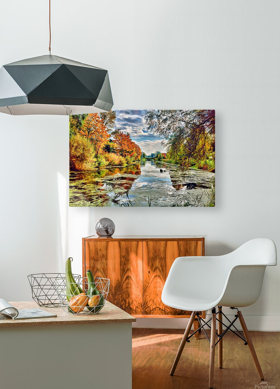 Autumn River  HD Metal print with Floating Frame on Back