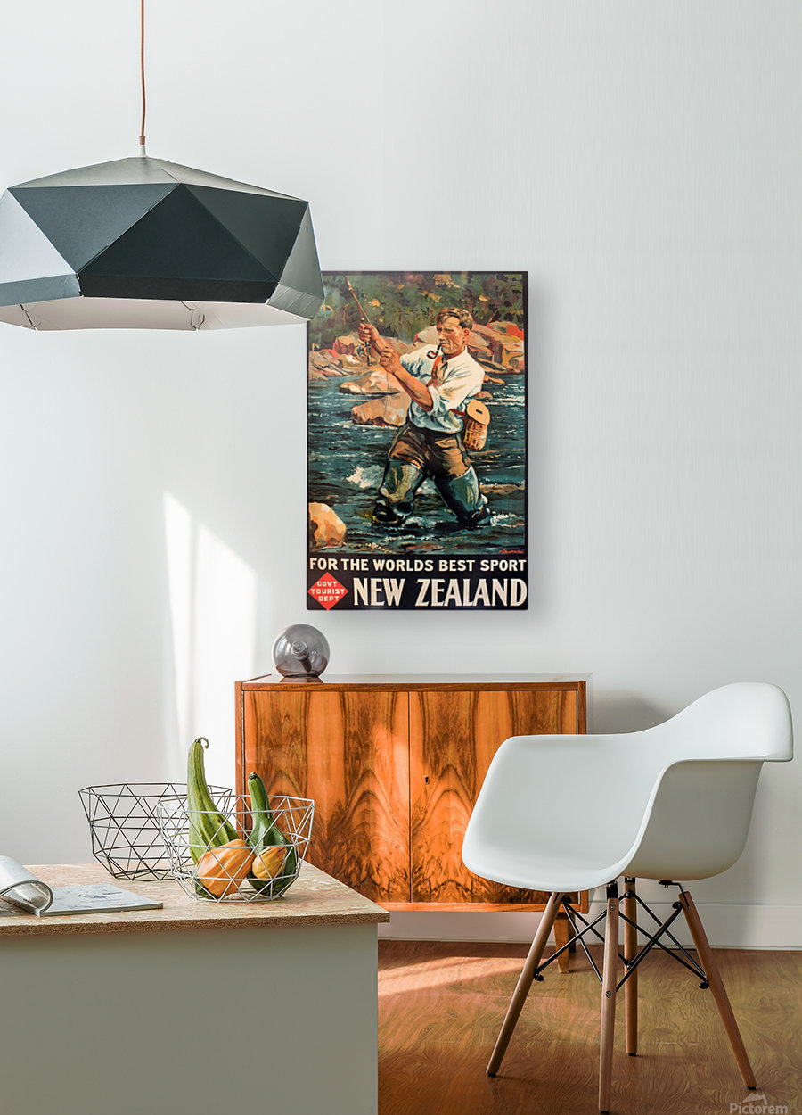 New Zealand Original Vintage Travel Poster  HD Metal print with Floating Frame on Back
