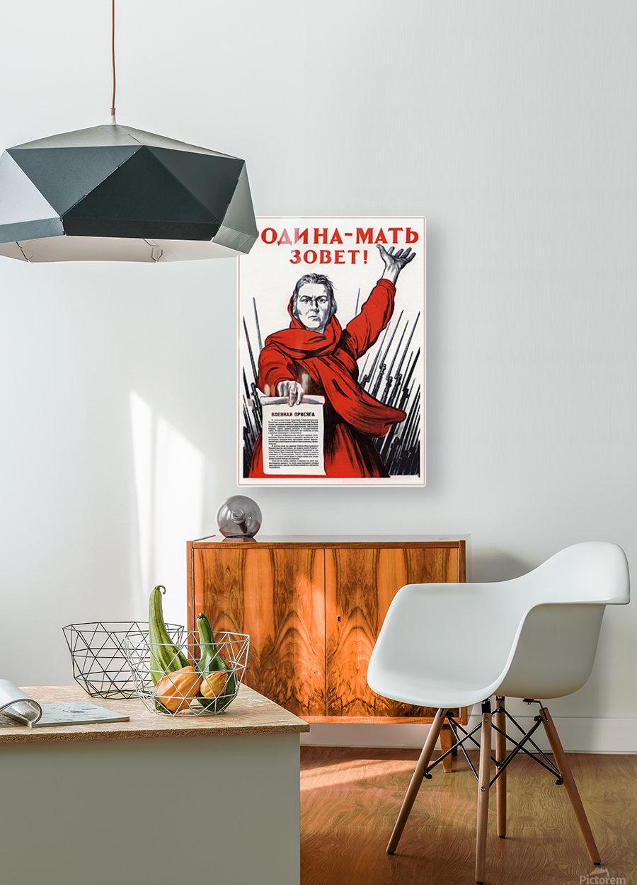 World War Propaganda Russian Original Poster  HD Metal print with Floating Frame on Back